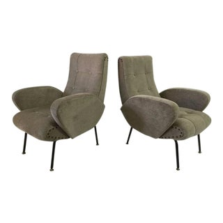 Zanuso Style Vintage Italian Armchairs, Pair