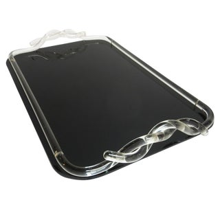 Art Deco Lucite and Black Glass Cocktail Tray For Sale