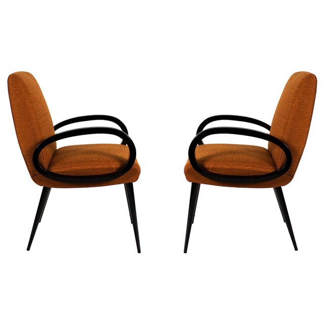 1950s Pair of Bridge Armchairs, Oval Arms, Stained Beech, Fibreguard, France For Sale - Image 9 of 9