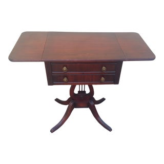 1930s Vintage Duncan Phyfe DropLeaf Mahogany Side Table For Sale