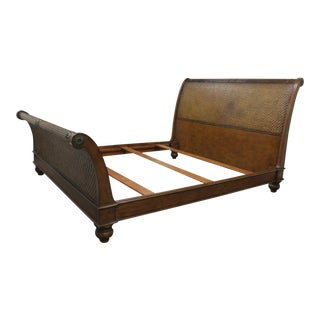 Bassett Tropical Plantation Boho Wicker Chic Rattan Sleigh King Size Bed Frame
