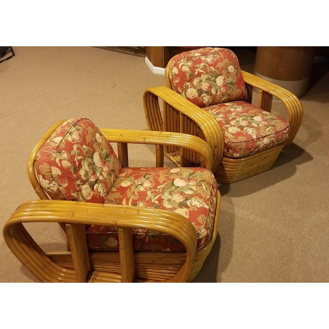 Up for sale are a Pair Mid Century Vintage Paul Frankl Style Bamboo Rattan Lounge Chairs. They are in excellent condition....