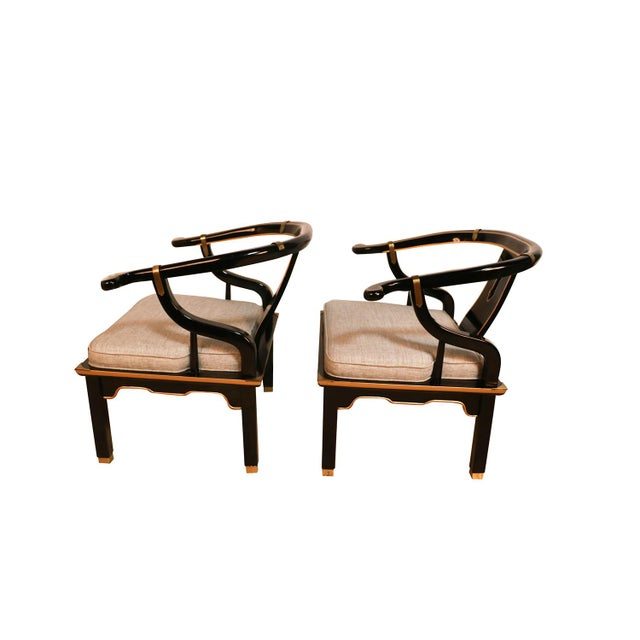 Asian Chinese Style Black Horseshoe Chairs James Mont for Century For Sale - Image 3 of 11