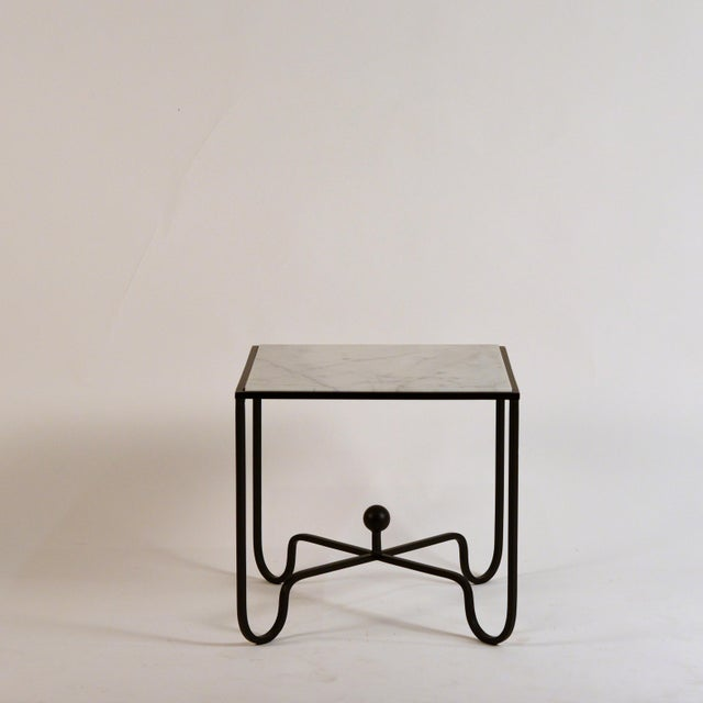 Contemporary 'Entretoise' Wrought Iron and Honed Marble Side Tables by Design Frères - a Pair For Sale - Image 3 of 8