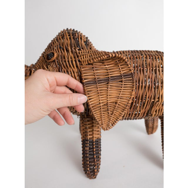 Vintage Wicker Elephant Statue For Sale - Image 9 of 13