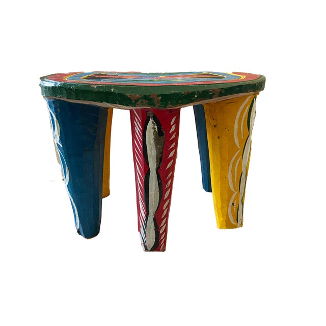 "African Old Nupe Stool Nigeria 11.5"" H For Sale - Image 11 of 13"