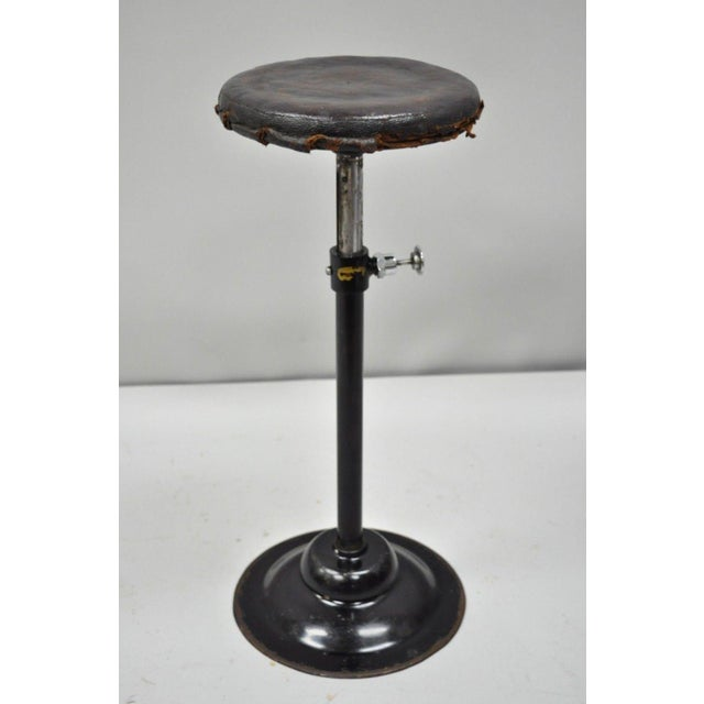 Antique Industrial Modern Brown Leather Seat Articulating Adjustable Work Stool by Peerless Appliance Company . Item...