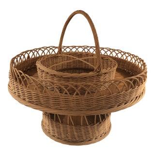 1940s Vintage French Wine Basket For Sale