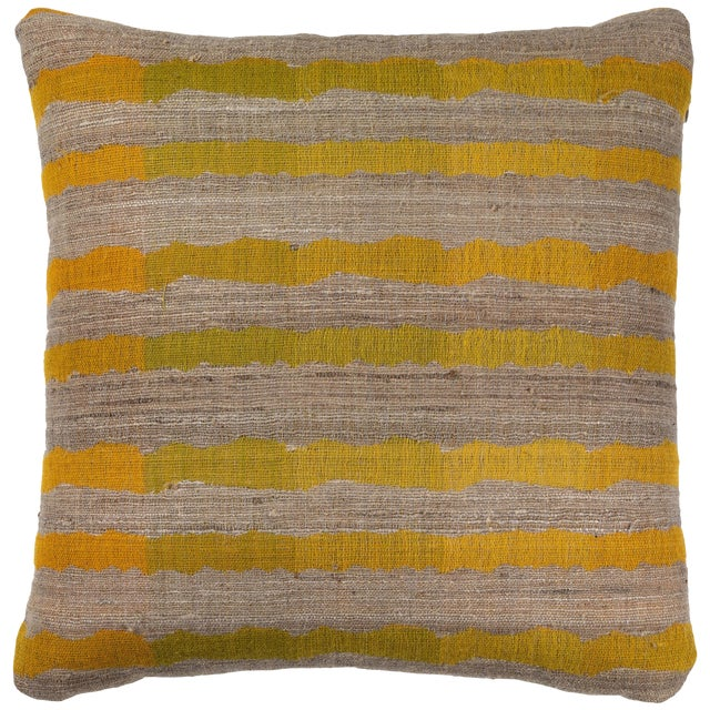 Indian Handwoven Pillow Ocean Stripe Yellow For Sale