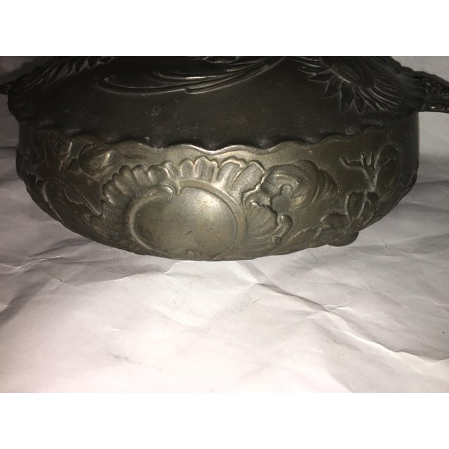 Vintage Art Nouveau Floral Pewter Dish For Sale In New York - Image 6 of 8