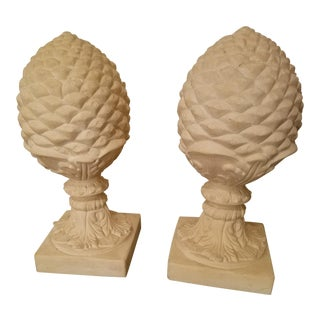 1980s Vintage Architectural Cast Pine Cones- A Pair For Sale