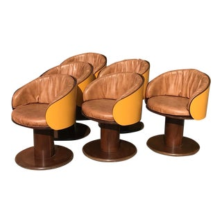 Mid Century Swivel Dining Chairs - Set of 6 For Sale