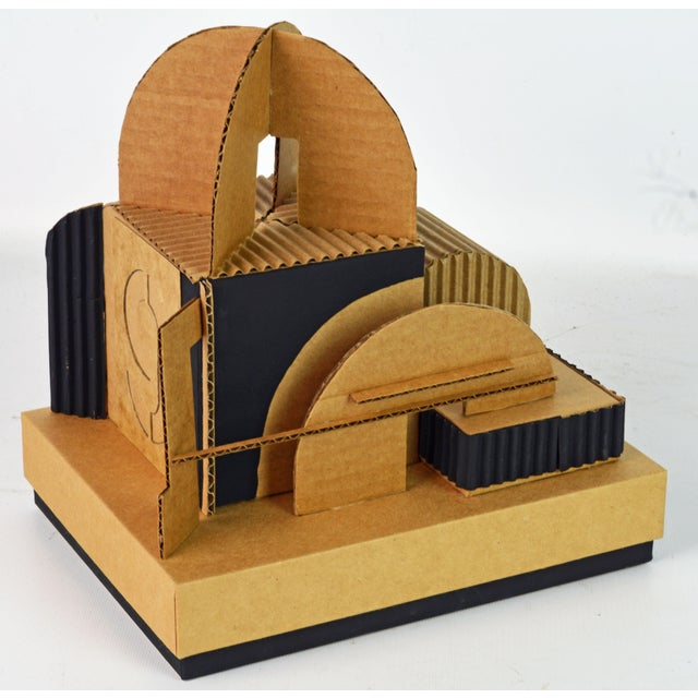 Cubist Bauhaus Style Architectural Cardboard Table Sculpture by Virgil Greca For Sale In Miami - Image 6 of 13