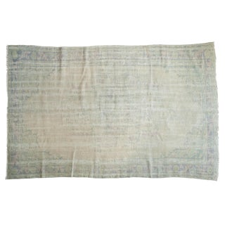 "Vintage Distressed Oushak Carpet - 6'1"" X 9'2"" For Sale"