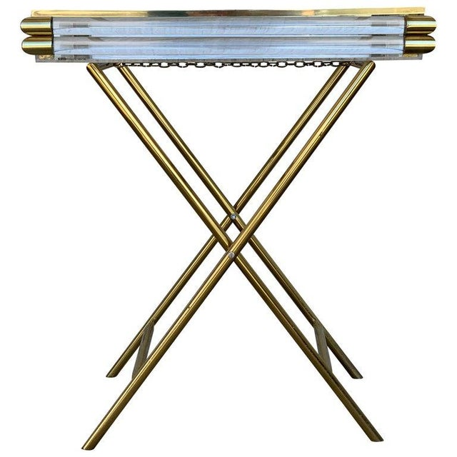 Metal Mid-Century Modern Italian Tray Table With Brass Legs by Montagnani For Sale - Image 7 of 7