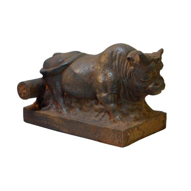 """Handmade rustic iron cow statue on base, very unique, it will be a great decor for home and office. Dimension: 8"""" x 5"""" x..."""