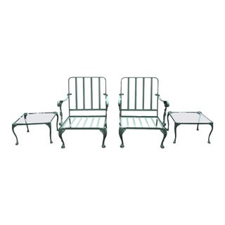 Modern Classical Style Garden Patio Armchairs and Side Tables- 4 Pieces For Sale