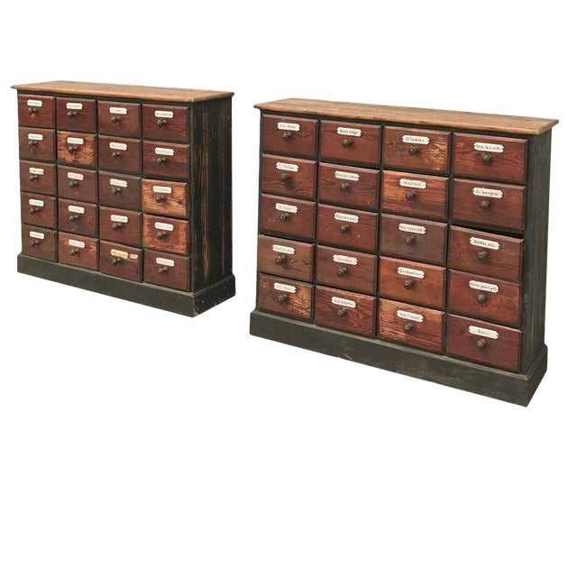 Antique French Pharmacy Cabinets With Original Enamelled Labels - a Pair For Sale
