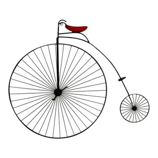 Contemporary Modern C Jere Signed Metal Bicycle W Red Seat Wall Sculpture 1980s For Sale