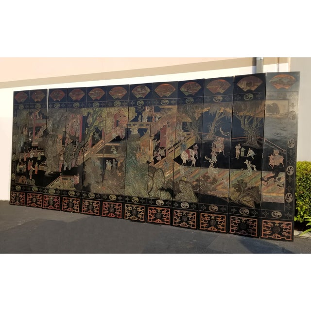 Chinoiserie 20th Century Asian Chinese Chinoiserie Black Coromandel 12 Panel Screen Oriental Asian For Sale - Image 3 of 12