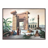 Image of Vintage French Scenic Wallpaper Inspired Painting For Sale