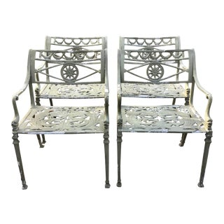 Set of 4 French Classical Patio Arm Chairs For Sale