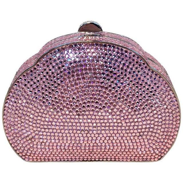 Judith Leiber Pink Swarovski Crystal Minaudiere Evening Bag For Sale - Image 9 of 9