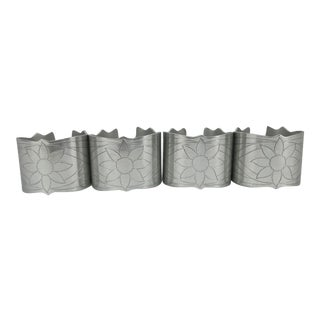 Hand-Tooled Aluminum Napkin Rings For Sale
