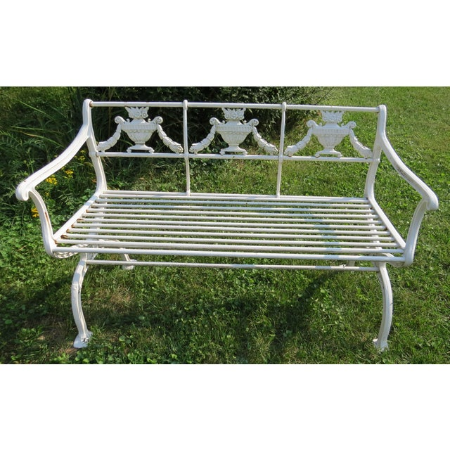 1900s Karl Friedrich Schinkel Style Neoclassical Cast Iron Patio Suite - 4 Pc. Set For Sale In Chicago - Image 6 of 13