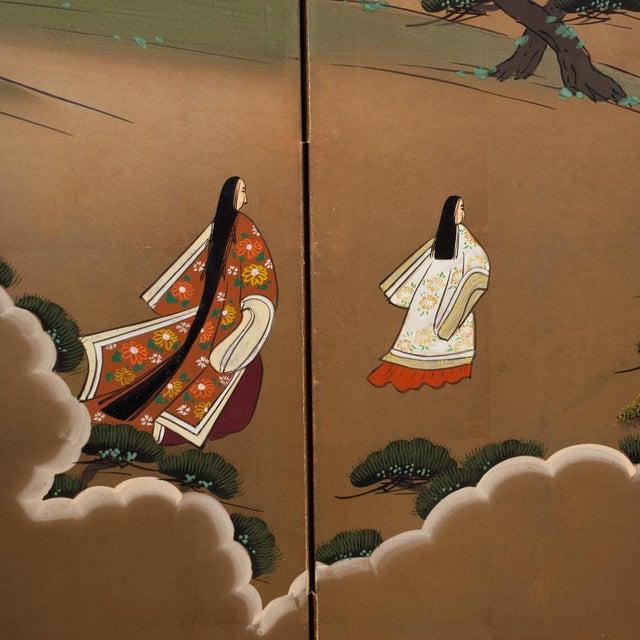 "1940s Shōwa Era ""The Tale of Genji"" Japanese Byobu Screen For Sale - Image 5 of 13"