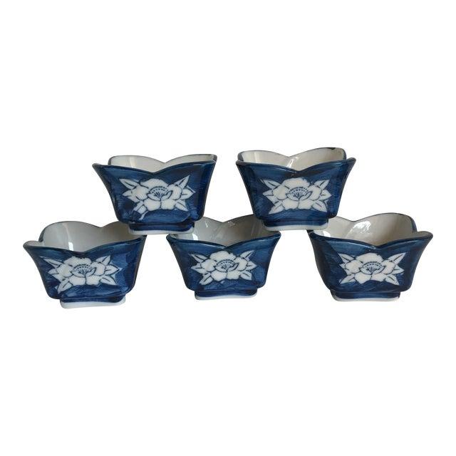 Vintage Lotus Flower Ceramic Sauce Dishes - Set of 5 - Image 1 of 7