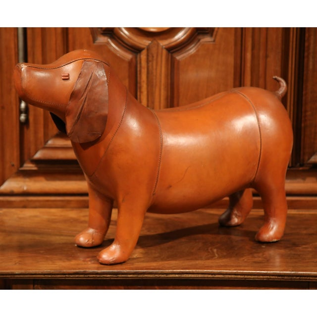 Large French Brown Leather Dog Footstool - Image 2 of 9