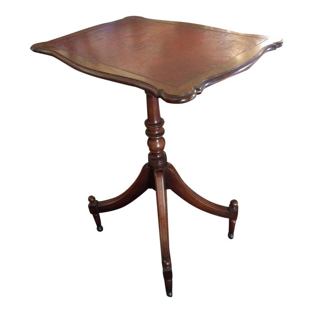 Antique English Leather Tilt Top Side Table - Image 1 of 6