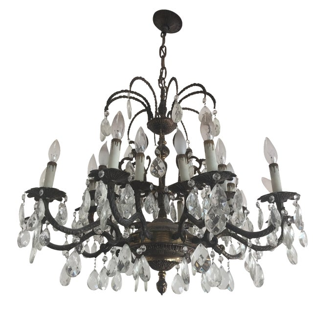 Antique Brass Crystal Chandelier - Image 1 of 5
