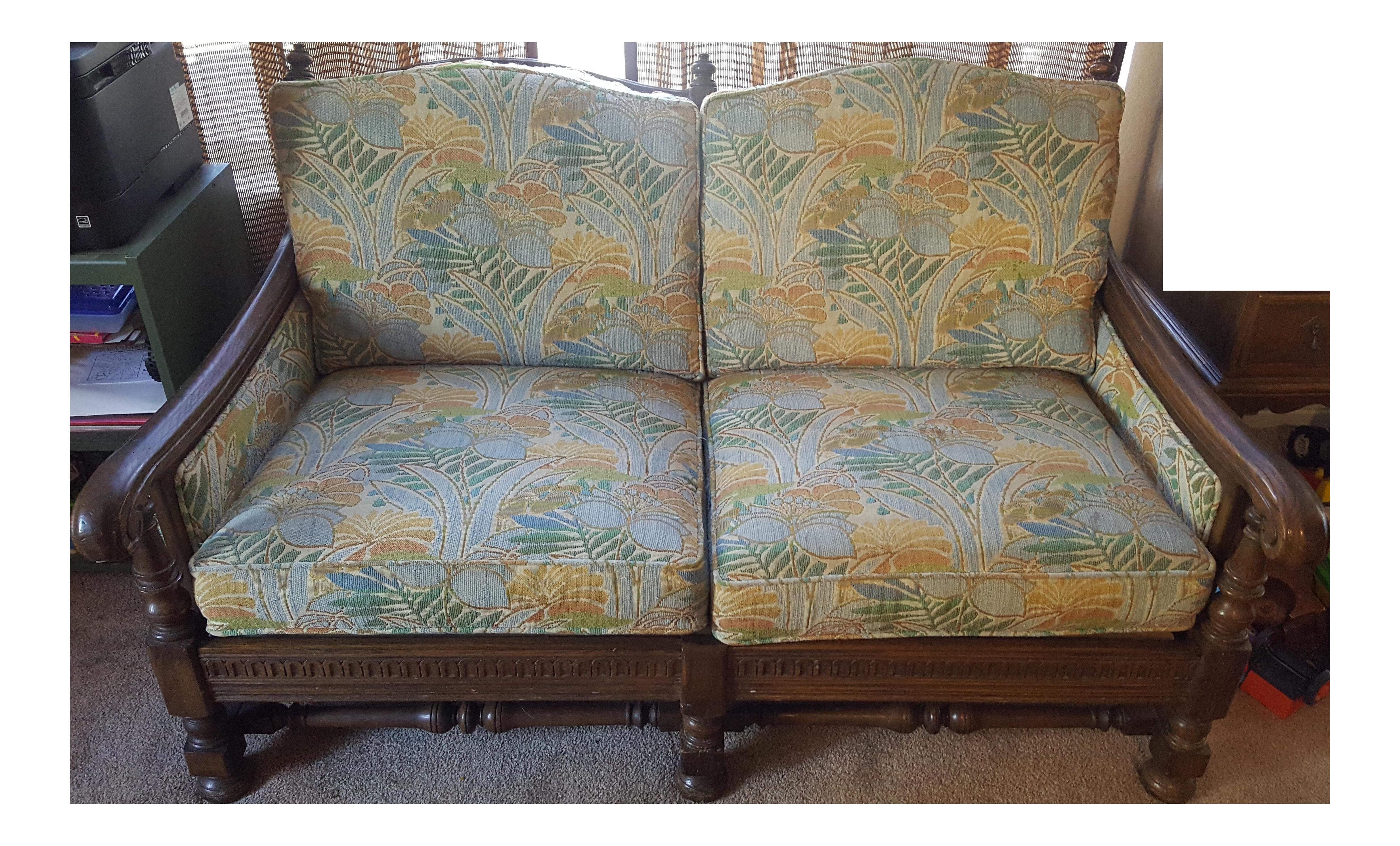Ethan Allen Spanish Style Oak Love Seat