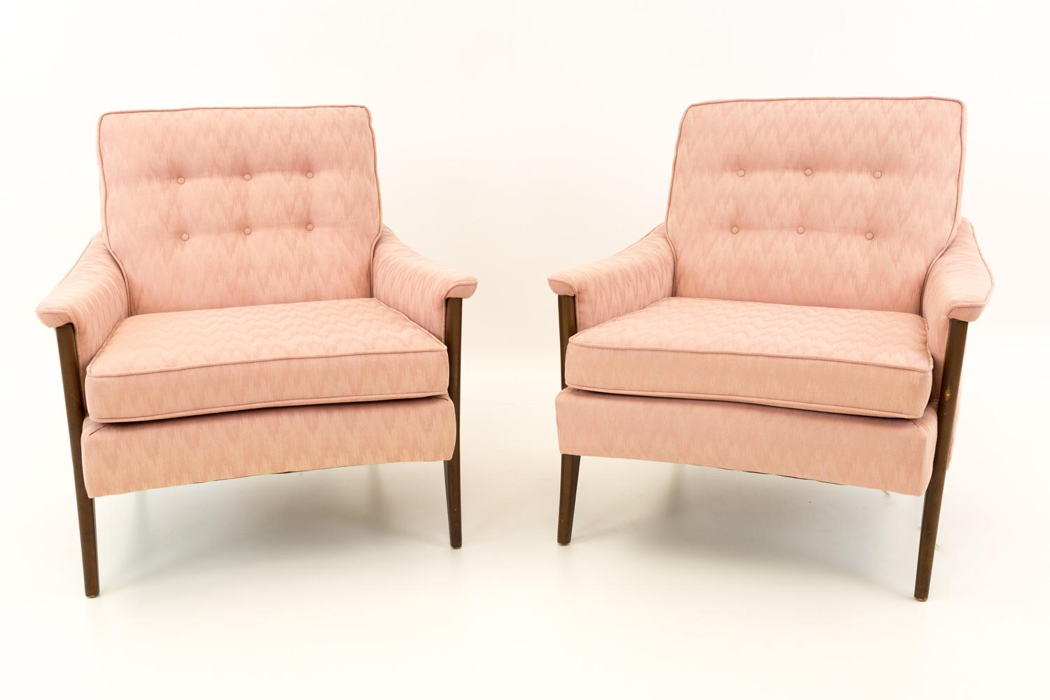 Vintage Mid Century Kroehler, Harvey Probber Style Pink Patterned  Upholstered Lounge Chairs  A Pair