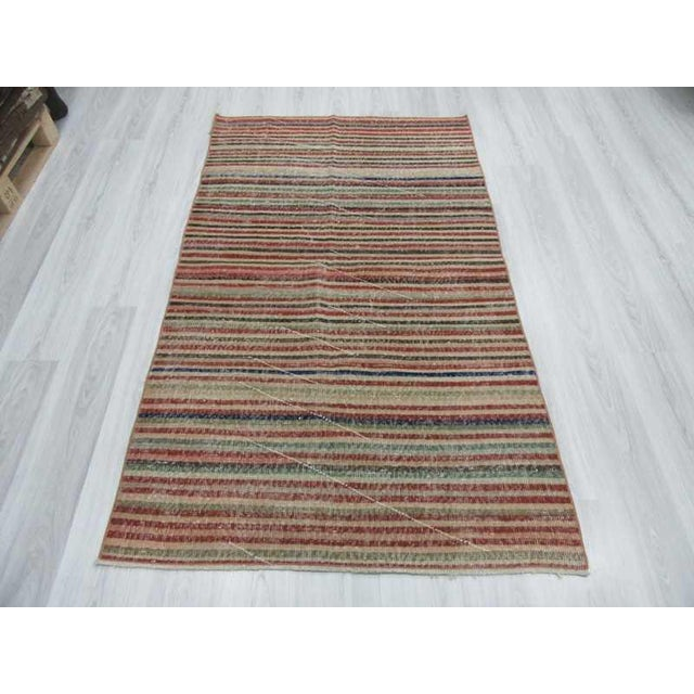 Vintage Turkish Hand-Knotted Striped Area Rug - 3′10″ × 6′7″ - Image 3 of 6