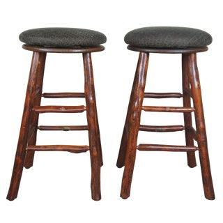 Old Hickory 956b Swivel Bar Height Stools - a Pair For Sale