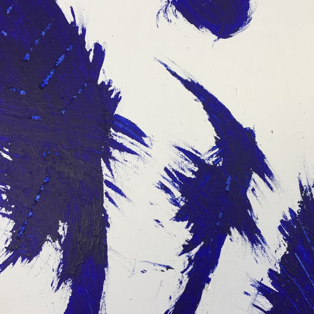 Abstract Blue on White Framed Abstract Landscape Painting For Sale - Image 3 of 9