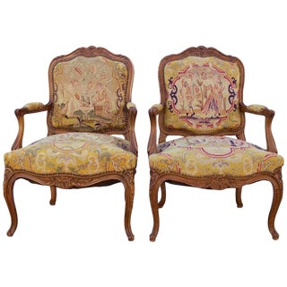 Early 19th Century Antique French Louis XV Style Tapestry Fauteuils - a Pair For Sale
