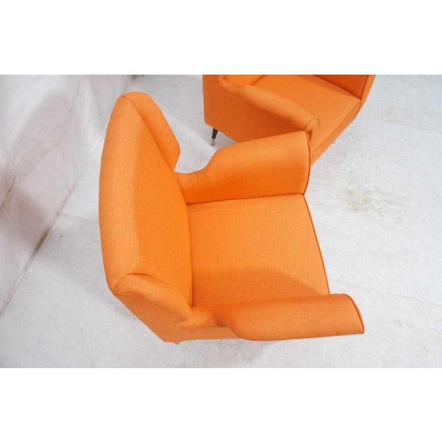 Orange Pair Of Contemporary Italian Style Fabric Lounge Chairs For Image 8 13