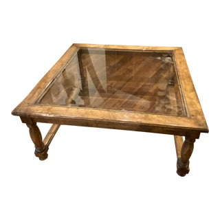 Vintage Wood and Beveled Glass Coffee Table For Sale