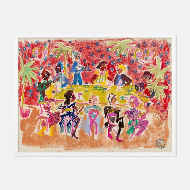 Contemporary At a Dinner Party by Happy Menocal in White Frame, XS Art Print For Sale - Image 3 of 3