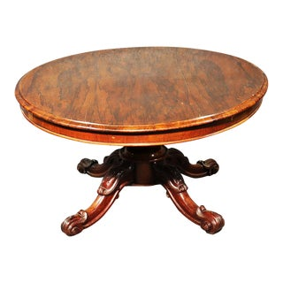 English Regency Style Rosewood Tilt Top Breakfast Dining Table For Sale