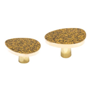 Kam Tin - Tiger Eyes Side Table With Brass and Bronze For Sale