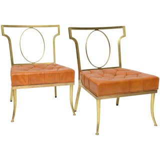 Hollywood Regency Pair of Leather and Brass Chairs by William Billy Haines For Sale