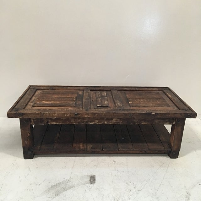Rustic Wooden Coffee Table - Image 3 of 8