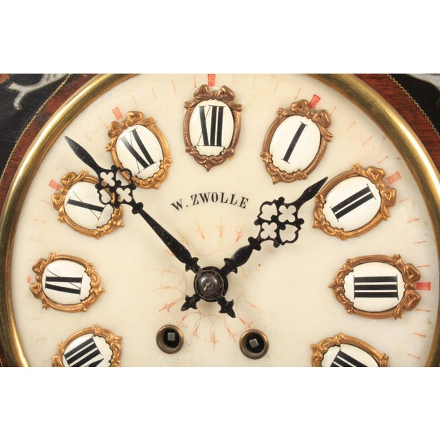 French 19th-C. French Napoleon III Wall Clock For Sale - Image 3 of 7