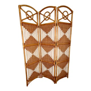 Vintage Boho Rattan Bamboo 3-Panel Folding Room Divider For Sale