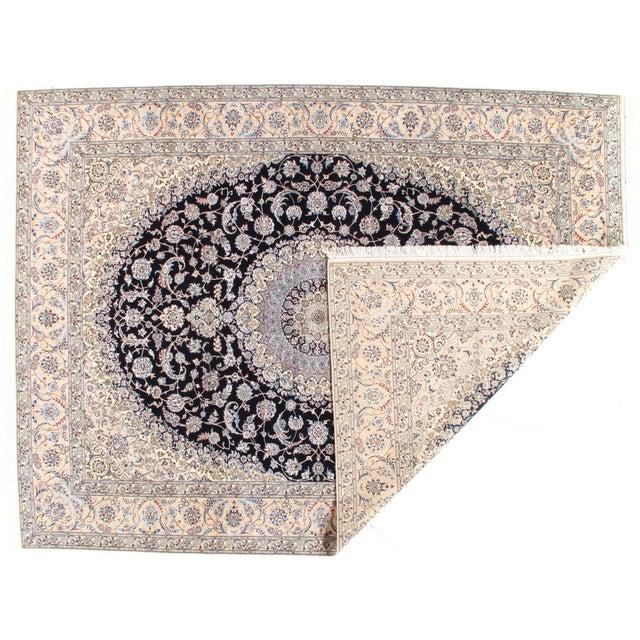 Pasargad NY Persian Nain Hand-Knotted Lamb's Wool & Silk Rug - 8′10″ × 11′10″ For Sale - Image 4 of 5